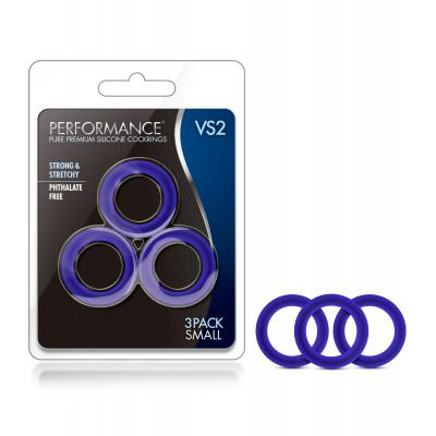 Blush Novelties VS2 Performance Silicone Cock Rings 3Pk Blue BL-70812 853858007086
