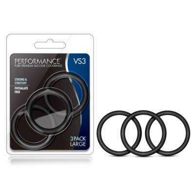 Blush Novelties VS3 Performance Silicone Cock Rings 3Pk Black BL-72815 853858007048