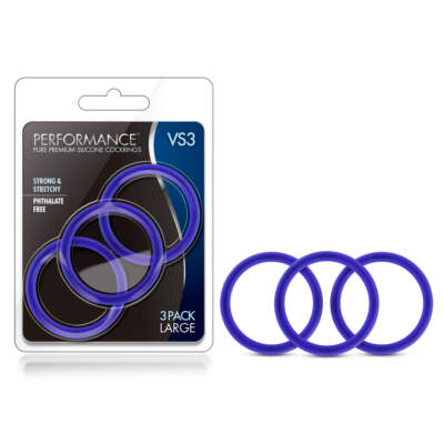 Blush Novelties VS3 Performance Silicone Cock Rings 3Pk Blue BL-72812 853858007055