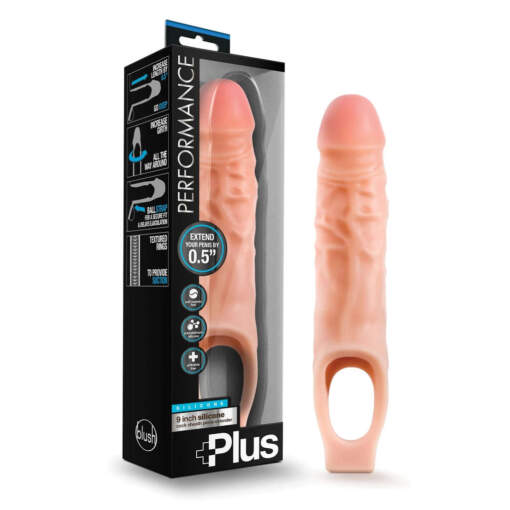 Blush Performance Plus 9 Inch Penis Extender Sleeve Light Flesh BL 22583 853858007963 Multiview