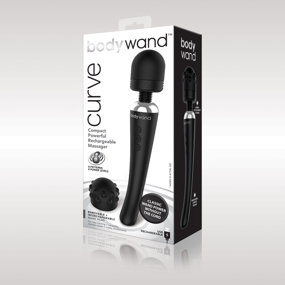 Bodywand Curve Rechargeable Wand Massager Black BW151 848416003853