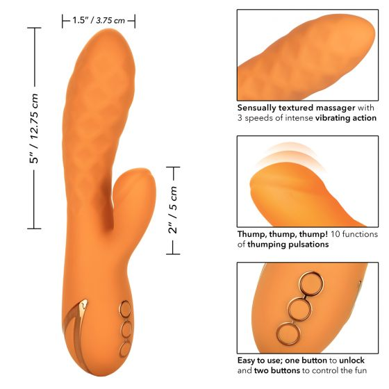 Calexotics California Dreaming Newport Beach Babe Rabbit Vibrator Orange SE 4350 43 3 716770094056 Size Detail