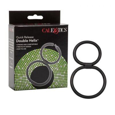 Calexotics Double Helix Quick Release Double Cock Ring Black SE 1414 50 3 716770016270 Multiview