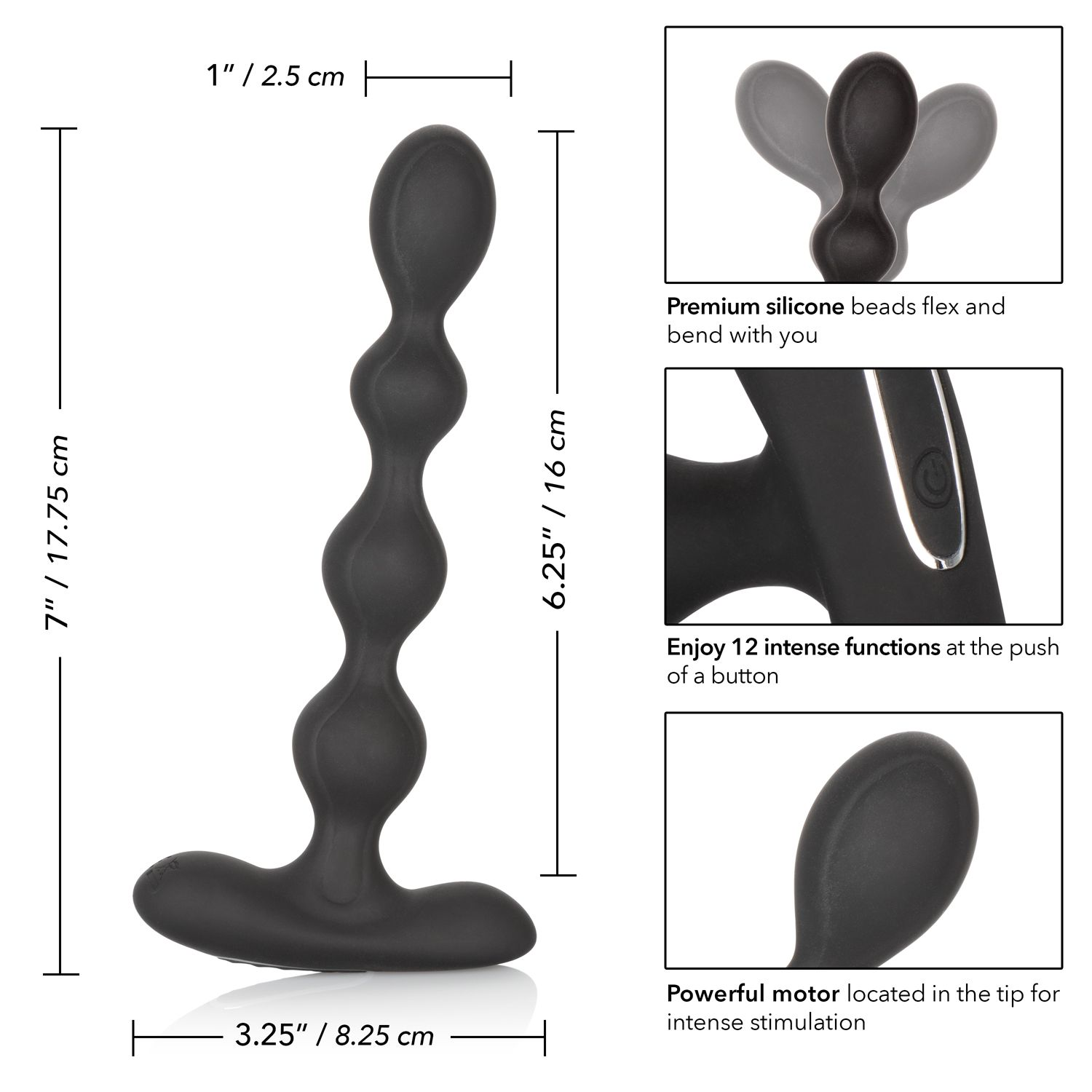 Calexotics Eclipse Rechargeable Vibrating Slender Beads Black SE-0383-10-3 716770091093
