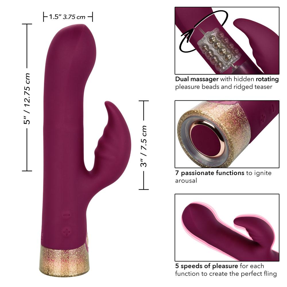Calexotics JOPEN Starstruck Affair Rabbit Vibrator Burgundy JO 8015 20 3 815768012987 Size Detail