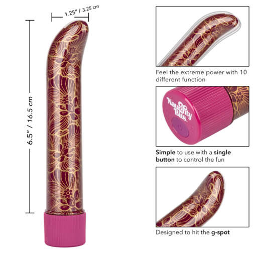 Calexotics Naughty Bits Oh My G Spot Patterned Vibrator Burgundy SE 4410 15 3 716770094346 Info Detail