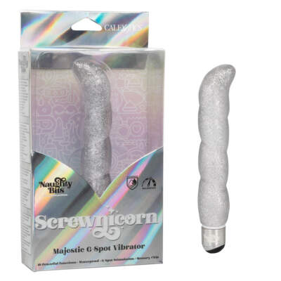 Calexotics Naughty Bits Screwnicorn Sleeved Jelly G Spot Vibrator Glittery Silver SE 4410 17 3 716770094360 Multiview