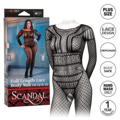 Calexotics Scandal Full Length Lace Bodysuit Plus Size Black SE 2711 85 3 716770096739 Info Multiview