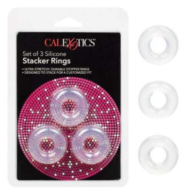 Calexotics Set of 3 Silicone Stacker Rings Clear Frost SE 1434 80 2 716770091499 Multiview