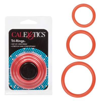 Calexotics Tri Rings 3 size Cock Ring Kit Red SE-1421-11-2 716770028037