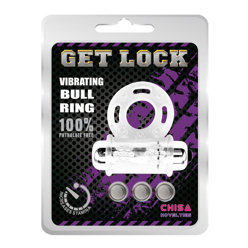 STAY HARD Get Lock Cock Ring Vibrating Bull Ring Clear