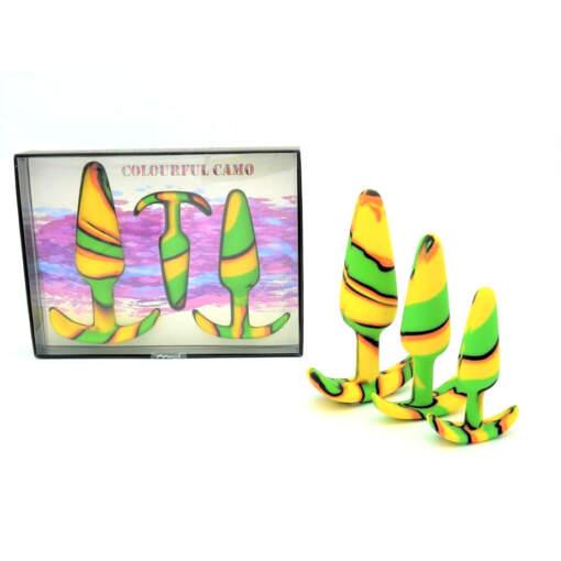 Colourful Camo Sail Silicone Anal Trainer Kit Yellow LA 11027 3Y 9354434000381