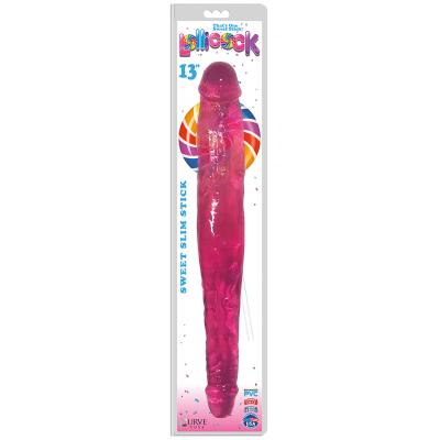 Curve Toys Lollicocks 13 Inch Slim Stick Double Dong Double Ender Cherry Ice Pink CN 14 0522 33 653078939927 Boxview