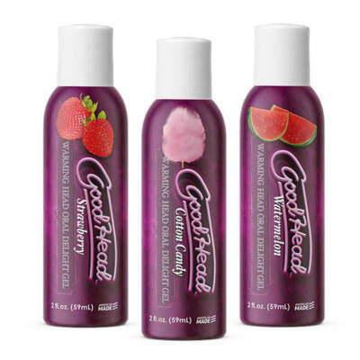 Doc Johnson Goodhead Warming Head Oral Delight Gel 3 Pack Watermelon Cotton Candy Strawberry 3 x 59ml 1360 74 BX 782421077952 Detail