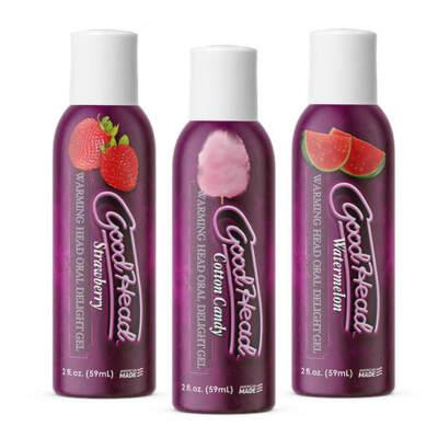 Doc Johnson Goodhead Warming Head Oral Delight Gel 3 Pack Watermelon Cotton Candy Strawberry 3 x 59ml 1360 74 BX 782421077952 Detail