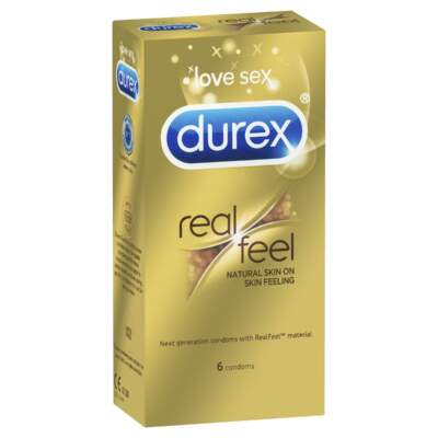 Durex Real Feel Non Latex Condoms 6 Pk 9300631420026 Boxview