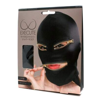 EXECUTE Face Mask with Zipper Eyes Mouth Black M L MK007 4573103500075 Boxview