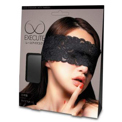 EXECUTE Lace Eye Mask with Ribbon Black M L MK009 4573103500204 Boxview