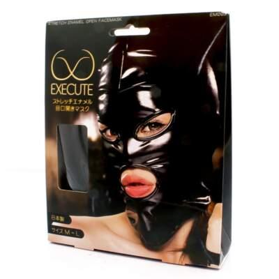 EXECUTE PVC Stretch Open Face Mask Black M L EM003 4573103500105 Boxview