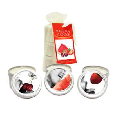 Earthly Body Edible Massage Candle 3 Pack Watermelon Cherry Strawberry EB EDCAND3 879959002300 Multiview