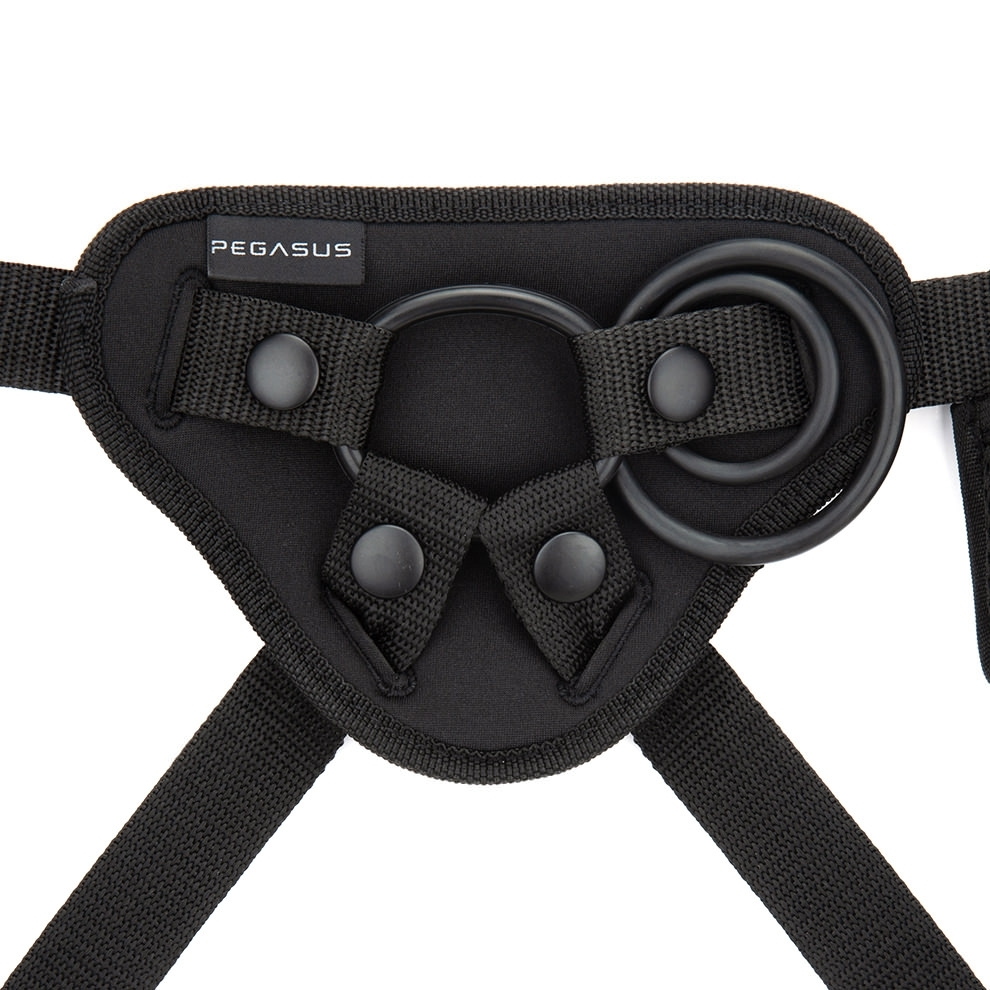 Electric Novelties Pegasus 6 Inch Rechargeable Wireless Remote Dong and Harness Purple PEG001 4890808228296 Harness Detail