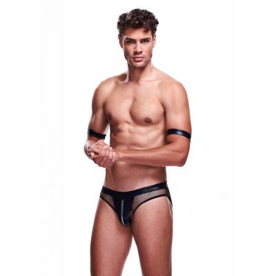 Envy Menswear 2 Pc Sexy Cop Set Thong Black EC11 Front Detail