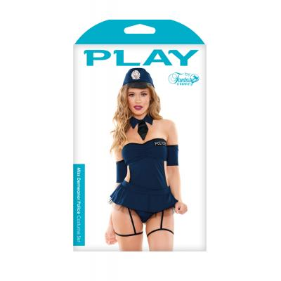 Fantasy Lingerie PLAY Miss Demeanor Police Costume Blue PL1802 Boxview