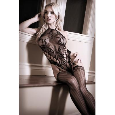 Fantasy Lingerie Sheer Fantasy Goodnight Kiss Teddy with Attached Stockings Black SF909 811432028131