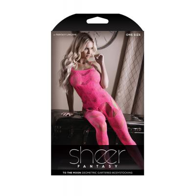 Fantasy Lingerie Sheer Fantasy To The Moon Geometric BodyStocking OS One Size Neon Pink SF926 811432019573 Boxview