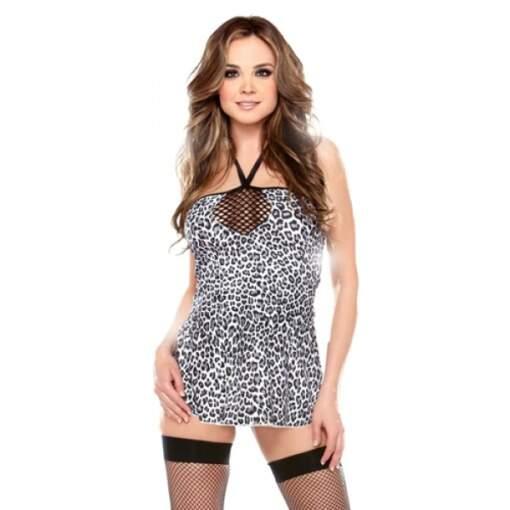 Fantasy Lingerie Vixen Leopard Halter Dress Black White B605 811432026335 Front Detail