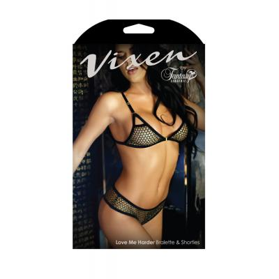 Fantasy Lingerie Vixen Love Me Harder Mesh Bra and Shortie Set OS Black Gold V735 811432019337 Boxview