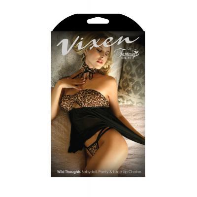 Fantasy Lingerie Vixen Wild Thoughts Babydoll G String Choker Set Leopard Black B V730 811432028308 Boxview