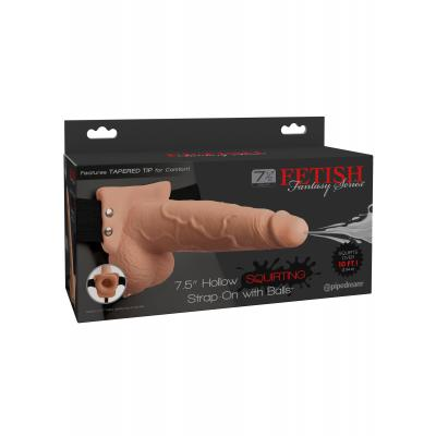 Fetish Fantasy Series 7.5 inch Hollow Squirting Strap On with Balls Light Flesh PD3397-21 603912759266