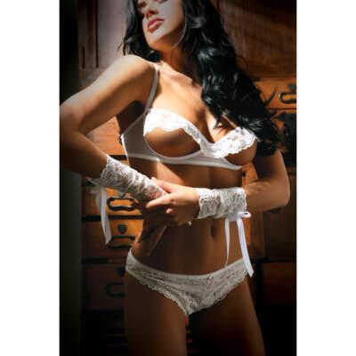 Forever Yours Bra Panty Wristlets Set White V713 811432025819