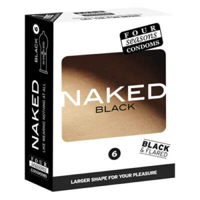 Four Seasons Naked Black Condoms 6 Pack 9312426006605 Boxview