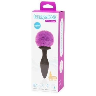 Happy Rabbit Rechargeable Vibrating Bunny Tail and Jewel Combo Medium Black Purple HR 80250 5060779232007 Boxview
