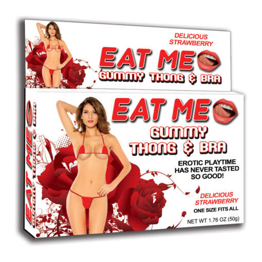 Hott Products Gummy Thong and Bra Set Red Strawberry Flavour HP2974 818631029747