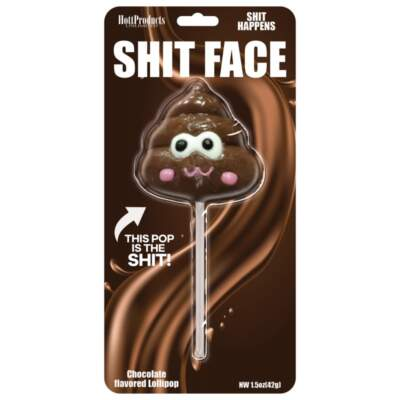 Hott Products Shit Face Lollipop Brown HP 3304 818631033041 Boxview