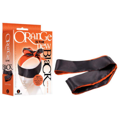 Icon Brands Orange is the new Black Satin Sash Blindfold Restraint Tie IC2522 2 847841025225 Multiview
