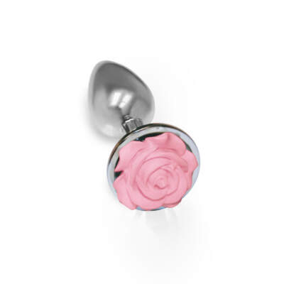 Icon Brands Silver Starter Pink Rose Floral Butt Plug 847841026437