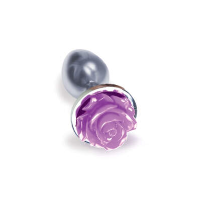 Icon Brands Silver Starter Purple Rose Floral Butt Plug 847841026444