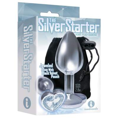 Icon Brands The Starter Heartshaped Jewel Butt Plug Silver IB2611 2 847841026116 Boxview