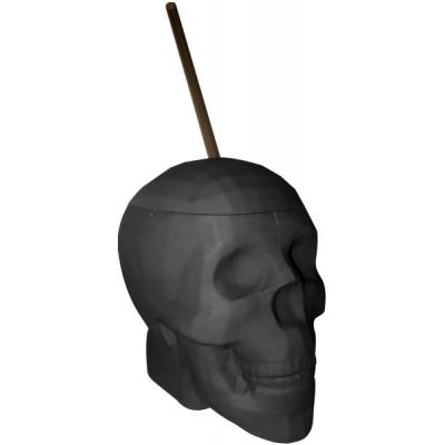 Kheper Games Matt Black Skull Cup with Straw NVD73 825156109809