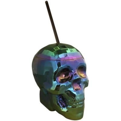 Kheper Games Oil Slick Rainbow Chrome Carnival Skull Cup with Straw NVD74 825156110034