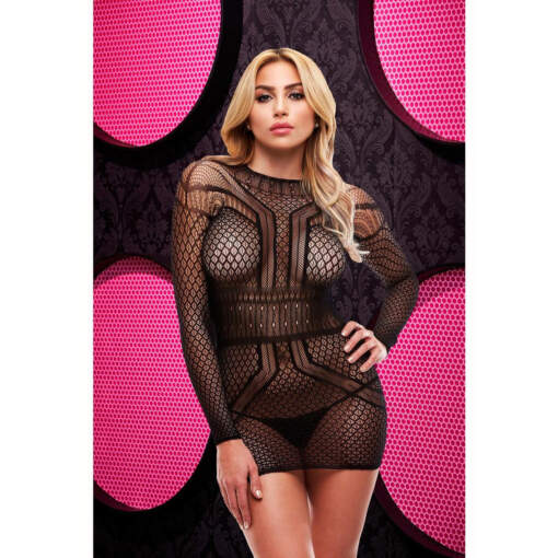 Lapdance Long sleeve Open Back Mini Dress Black LC-56-BK 848416003495