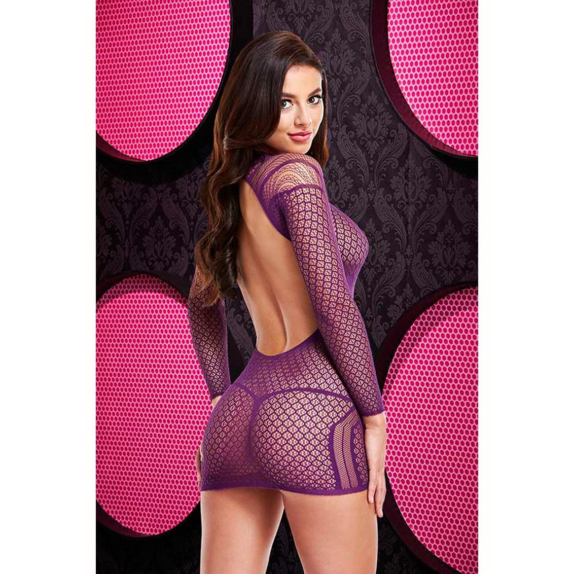 Lapdance Longsleeve Open Back Mini Dress Purple LC-56-PUR 848416003501