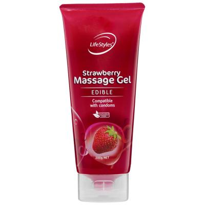 Lifestyles Edible Strawberry Massage Gel 200g 460081 9352417000816 Boxview