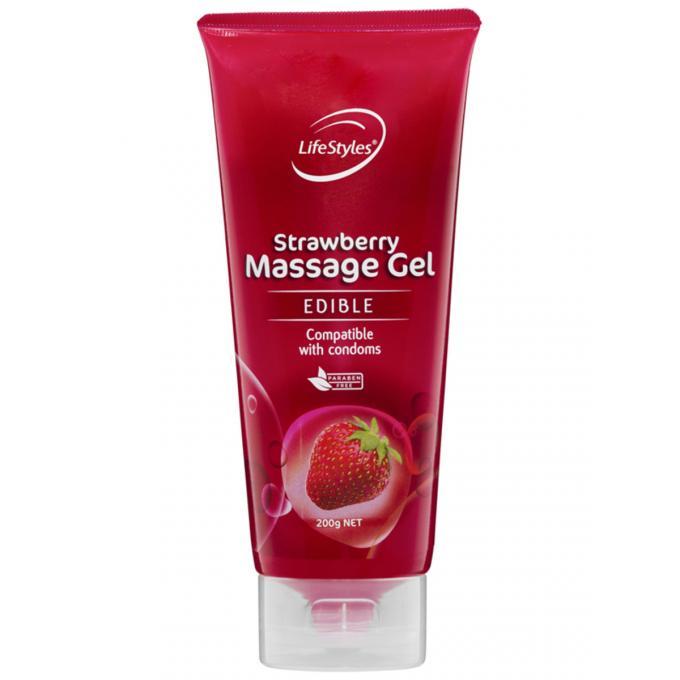 Lifestyles Edible Strawberry Massage Gel 200g 460081 9352417000816 Boxview