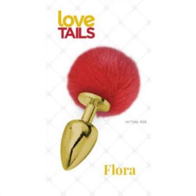 Love Tails Flora Medium Gold Metal Pom Pom Butt Plug Gold Red LT10017 694182100179