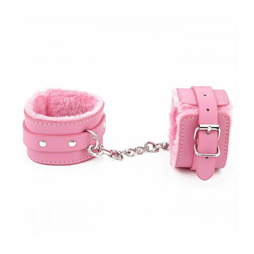 Love in Leather Berlin Baby Faux Fur Lined Wrist Cuffs Pink HAN02PNK 2811402161408 Detail